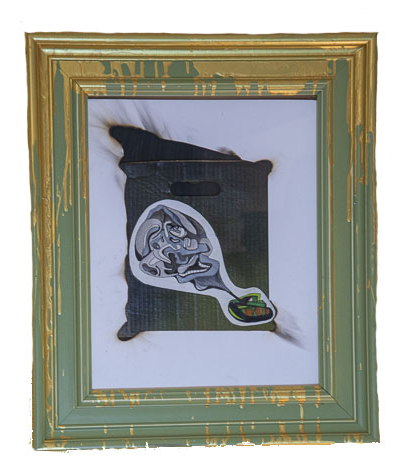 surreal war tank in green and gold frame
